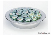Cooled yogurt tray, round, stainless steel